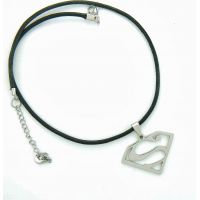 Choker necklace with Superman logo in stainless steel and black leather by Créations Lucie Jolicoeur​