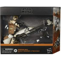 Star Wars The Black Series 6-inch Speeder Bike with Scout Trooper & The Child (Baby Yoda) Hasbro