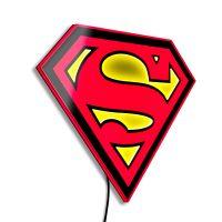 Superman LED Logo Light (Large) Wall Light by Brandlite Illuminated Wall Art 907455
