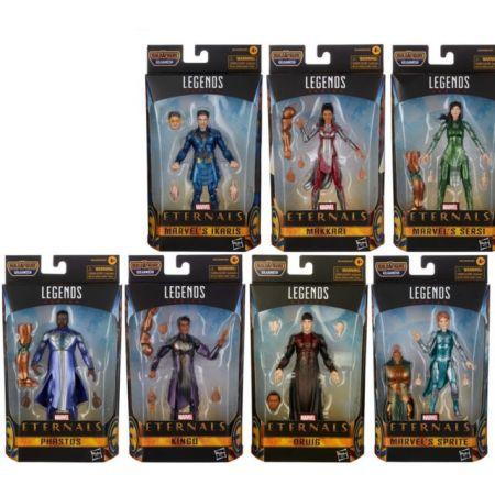 Marvel Legends Eternals Series 6 pouces Ensemble de 7 Figurines (BAF Gilgamesh) (Ikaris, Sprite, Sersi,  Makkari, Druig, Phastos, Kingo) Hasbro